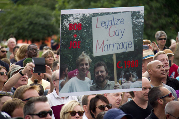The capitol steps packed with people after the Supreme Court's ruling on same-sex marraige in 2015. (Kevin J. Beaty)  same sex; marraige; lgbtq; rally; capitol hill; kevinjbeaty;
