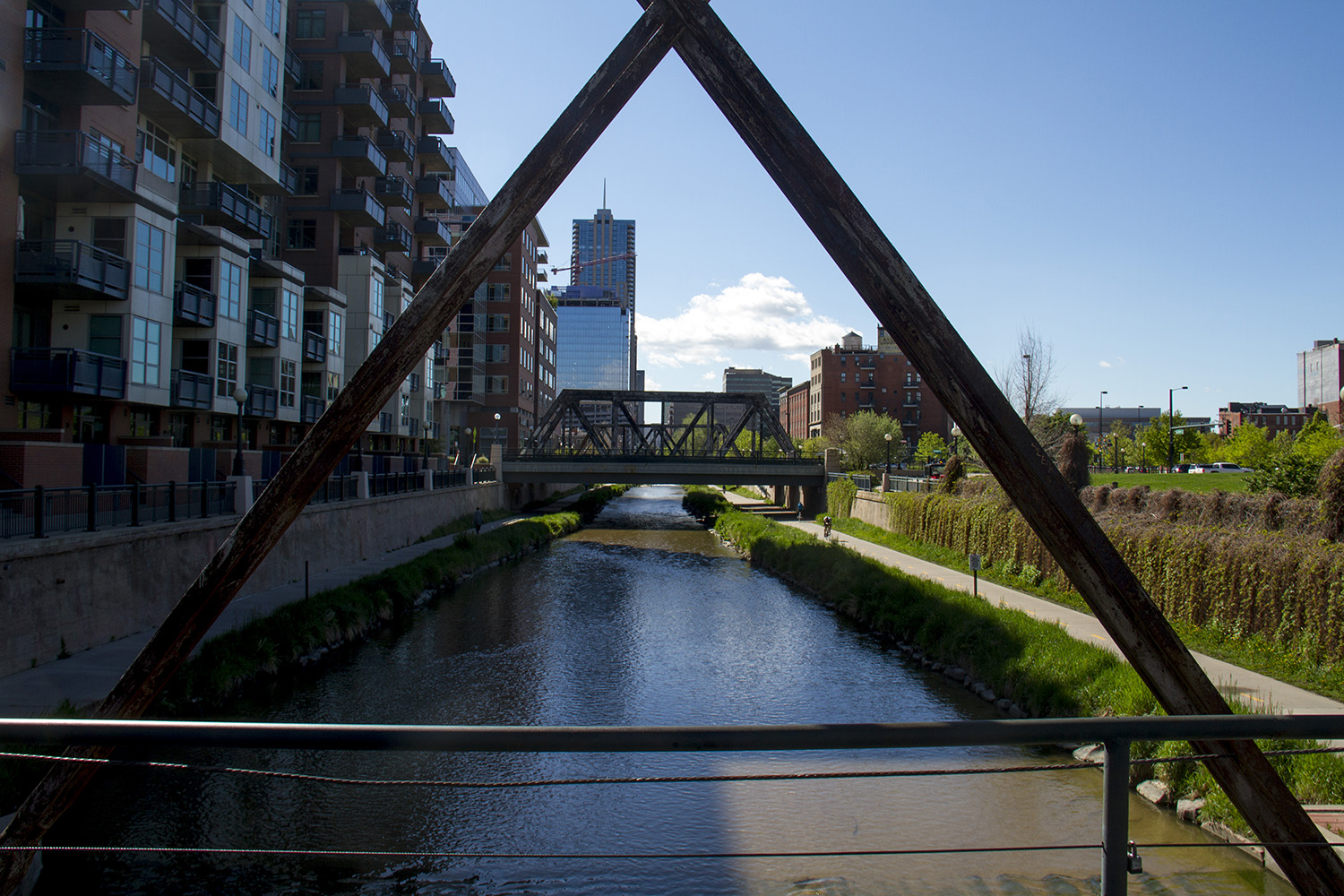 Views of the Cherry Creek trail in downtown Denver.  denver; denverite; colorado; cherry creek; trail; bridge; water; recreation; downtown; kevinjbeaty