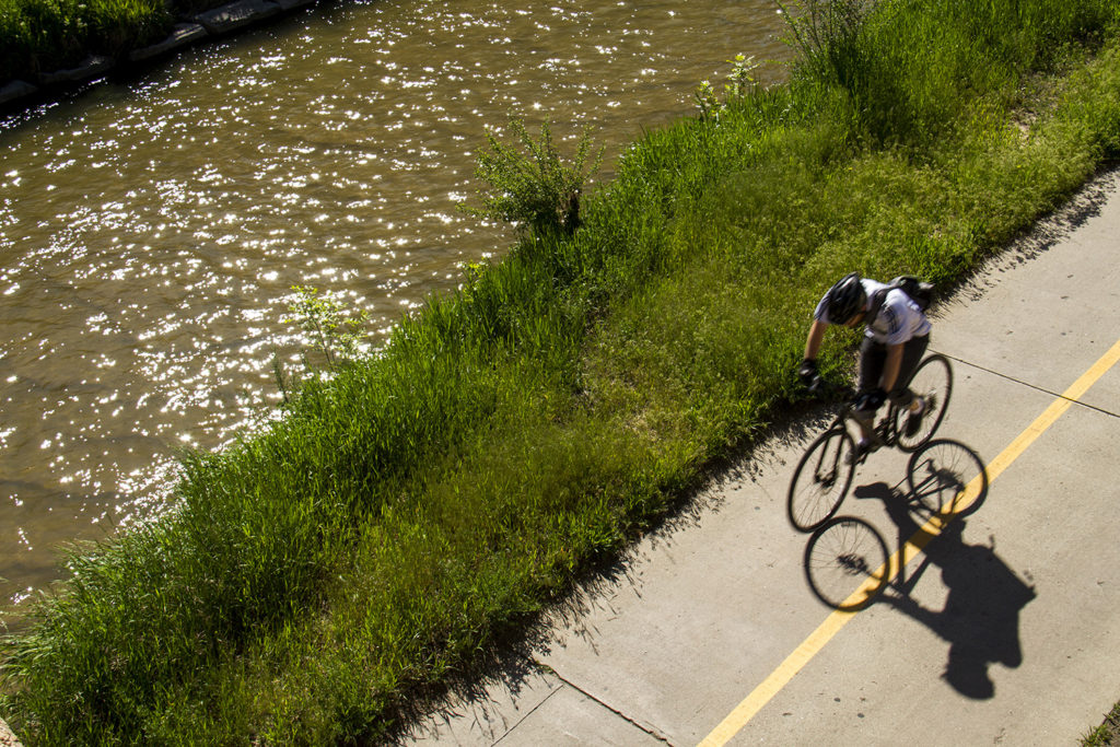Views of the Cherry Creek trail in downtown Denver.  denver; denverite; colorado; cherry creek; trail; bridge; water; recreation; downtown; kevinjbeaty