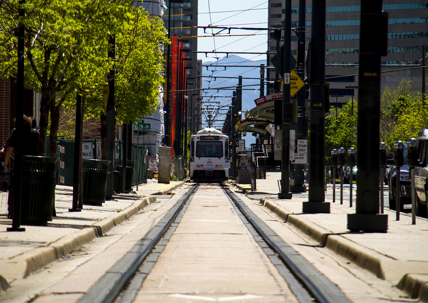 An RTD train parked at the end of the line in Five Points.