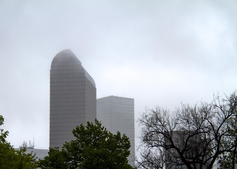 Cloudy skies in downtown Denver. (Kevin J. Beaty/Denverite)  rain; foggy; weather; clouds; denver; colorado; denverite; kevinjbeaty