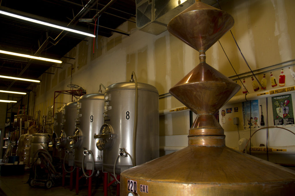 Cooling tanks and a custom still made by Downslope's Mitch Abate, of which there are only a handfull in the world.  downslope; distillery; whiskey; liquor; craft; denver; denverite; colorado; kevinjbeaty