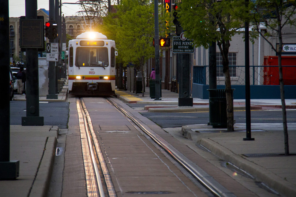 The RTD D Line illuminates the track in the heart of Five Points. (Kevin J. Beaty/Denverite)