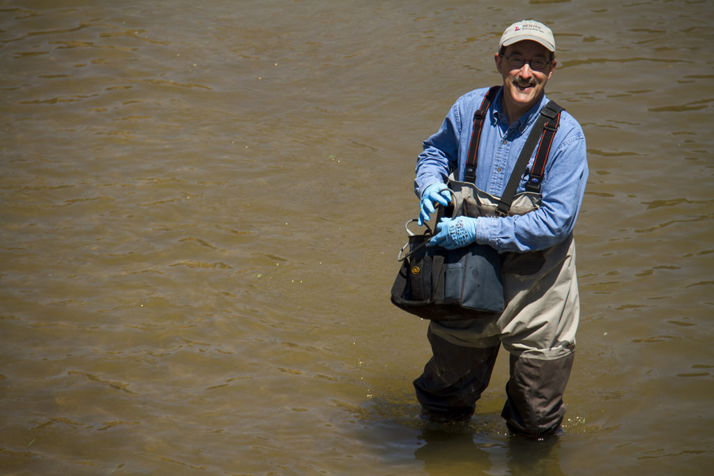 Denver Department of Environmental Health administrator Jon Novick samples water in the middle of Confluence Park. (Kevin J. Beaty/Denverite)  platte; cherry creek; river; water; health; environment; city; confluence park; denver; colorado; kevinjbeaty; denverite