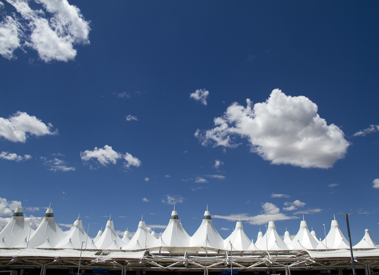 Denver International Airport's iconic pitched roof.