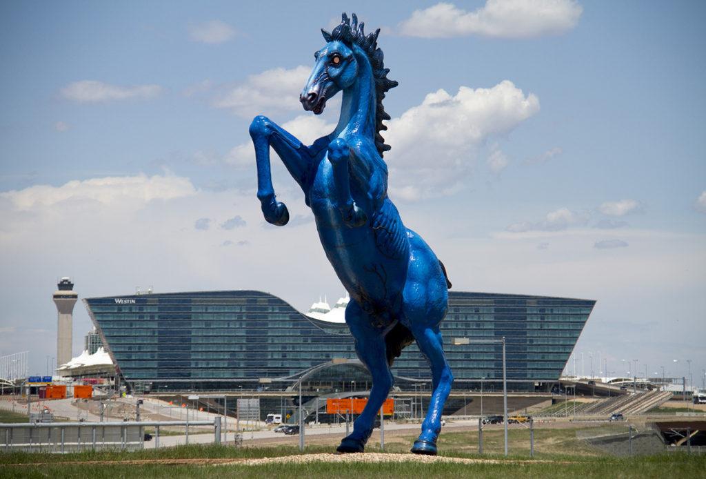 Denver International Airport's iconic demonic horse, known as Blucifer. (Kevin J. Beaty/Denverite)  dia; denver international airport; blucifer; public art; denver; denverite; colorado; kevinjbeaty