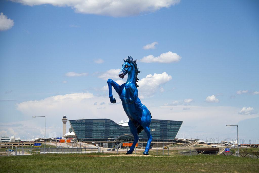 Denver International Airport's iconic demonic horse, known as Blucifer. (Kevin J. Beaty/Denverite)
