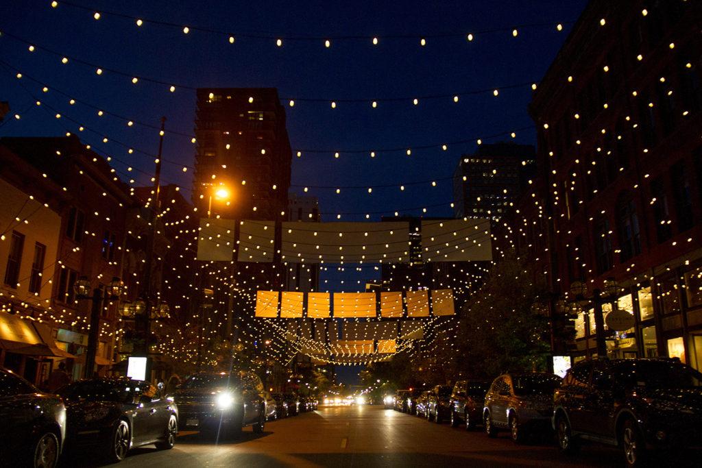 Larimer Square after dark. (Kevin J. Beaty/Denverite)  larimer square; entertainment; night; nightlife; evening; dining; downtown; lodo; denver; denverite; colorado; kevinjbeaty