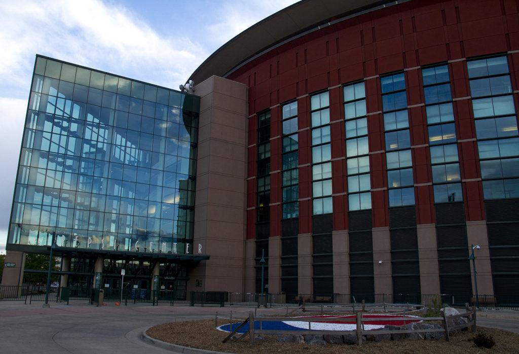 A modern glass face of the Pepsi Center. (Kevin J. Beaty/Denverite)  pepsi center; sports; nuggets; avalanche; denver; denverite; colorado; kevinjbeaty
