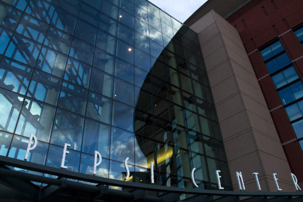 The modern glass face of the Pepsi Center. (Kevin J. Beaty/Denverite)