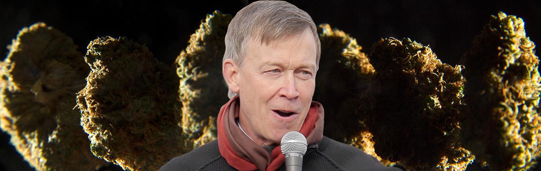 A photo montage of Governer John Hickenlooper and a marijuana bud. (Kevin J. Beaty/Denverite)  hickenlooper; governor; marijuana; pot; weed; denver; colorado; denverite; kevinjbeaty;
