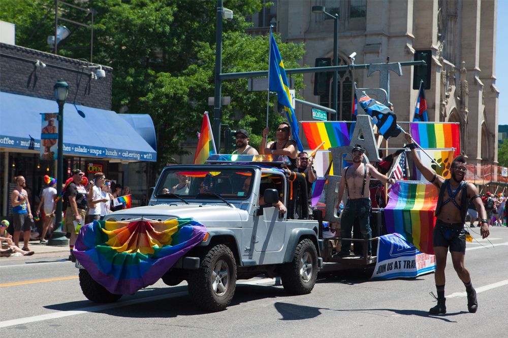 The Denver 2016 Pride Parade began early Sunday in Cheesman Park and snaked down Colfax to Pride Fest. (Chloe Aiello/Denverite)