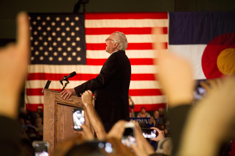 Bernie Sanders speaks to a roaring crowd on February 13, 2016. (Kevin J. Beaty)  politics; denver; kevinjbeaty; colorado; bernie sanders; presidential campaign; feelthebern; denverite