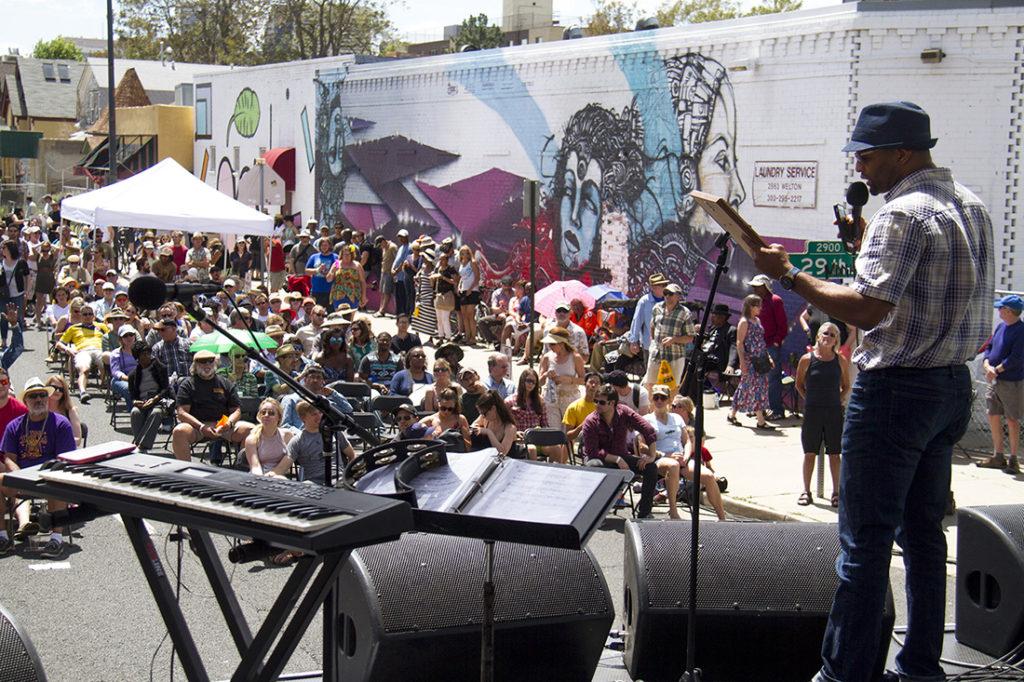 City Councilman Albus Brooks addresses the Five Points Jazz Festival on Welton Street. (Kevin J. Beaty/Denverite)  albus brooks; five points; music; jazz; festival; entertainment; nightlife; denver; denverite; colorado; kevinjbeaty