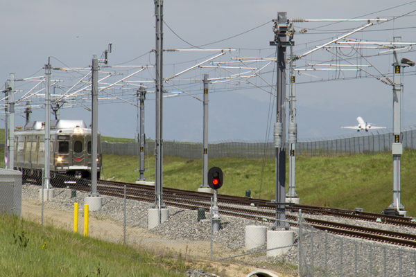 The A Line by DIA. (Kevin J. Beaty/Denverite)  a line; dia; denver international airport; train; rtd; denver; colorado; kevinjbeaty; denverite;