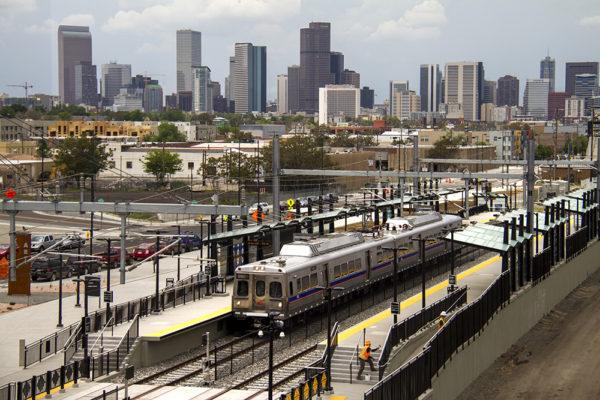 The A Line outside of downtown Denver.(Kevin J. Beaty/Denverite)  a line; dia; denver international airport; train; rtd; denver; colorado; kevinjbeaty; denverite;