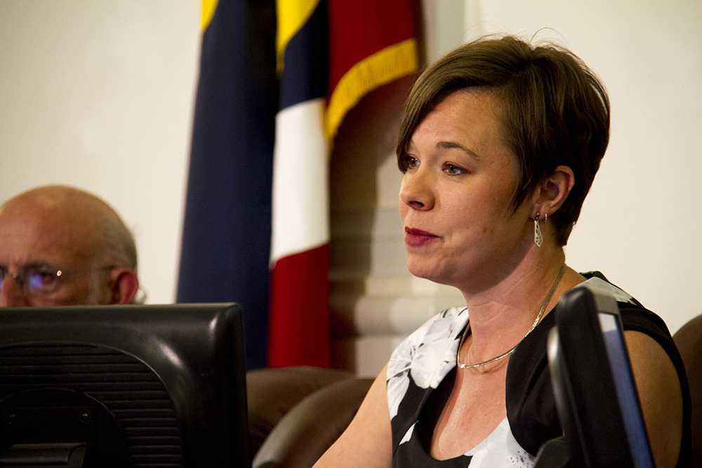 Denver City Councilwoman Robin Kniech speaks at a public meeting. (Kevin J. Beaty/Denverite)  city council; civic center; city and county building; politics; government; kevinjbeaty; denver; denverite; colorado;