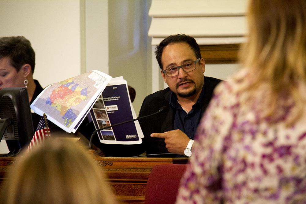 Denver City Councilman Rafael Espinoza at a meeting. (Kevin J. Beaty/Denverite)