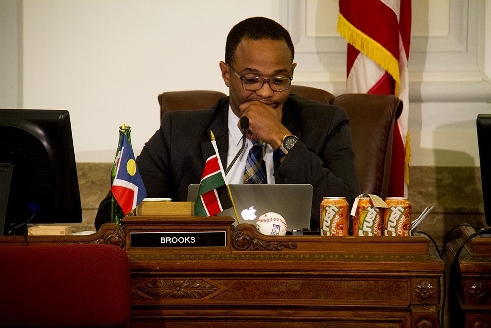 Denver City Councilman Albus Brooks at a meeting. (Kevin J. Beaty/Denverite)  city council; civic center; city and county building; politics; government; kevinjbeaty; denver; denverite; colorado;