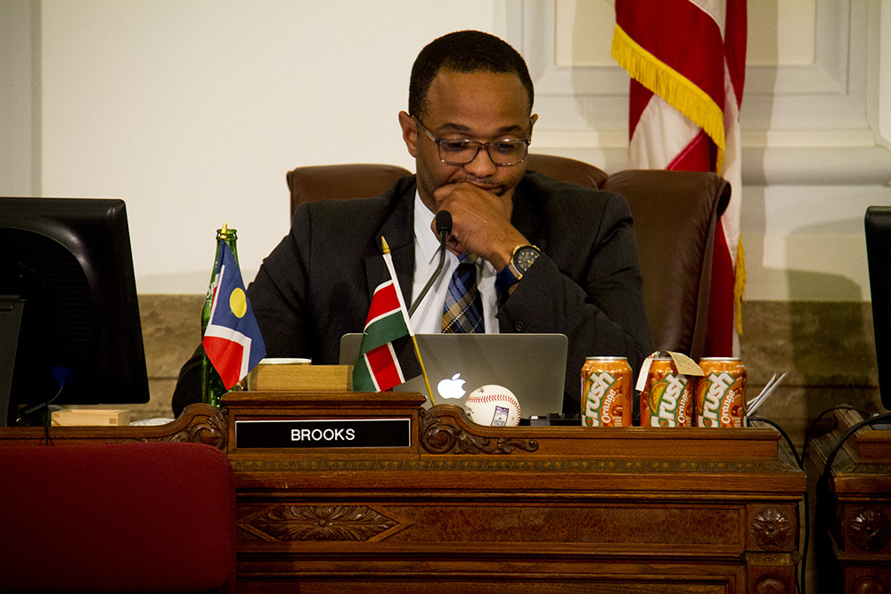 Denver City Councilman Albus Brooks at a meeting. (Kevin J. Beaty/Denverite)  city council; civic center; city and county building; politics; government; kevinjbeaty; denver; denverite; colorado;