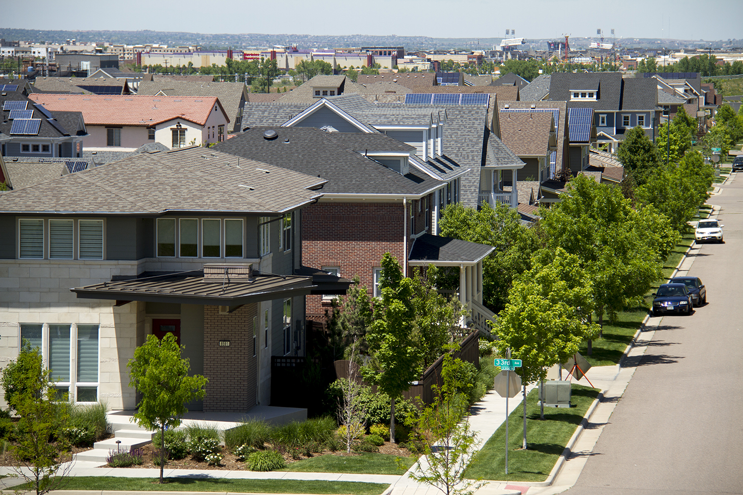 Stapleton residences as seen from a hill in Central Park. (Kevin J. Beaty/Denverite)
