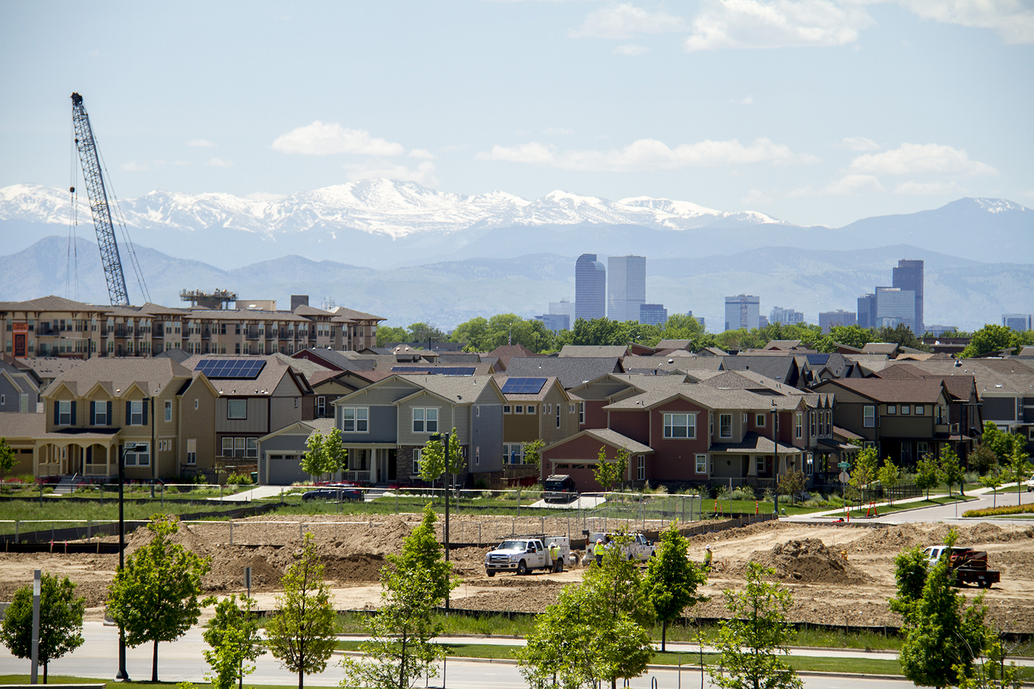Stapleton residences under downtown Denver's skyline. (Kevin J. Beaty/Denverite)  stapleton; residential; suburbs; skyline; cityscape; denverite; denver; colorado; kevinjbeaty