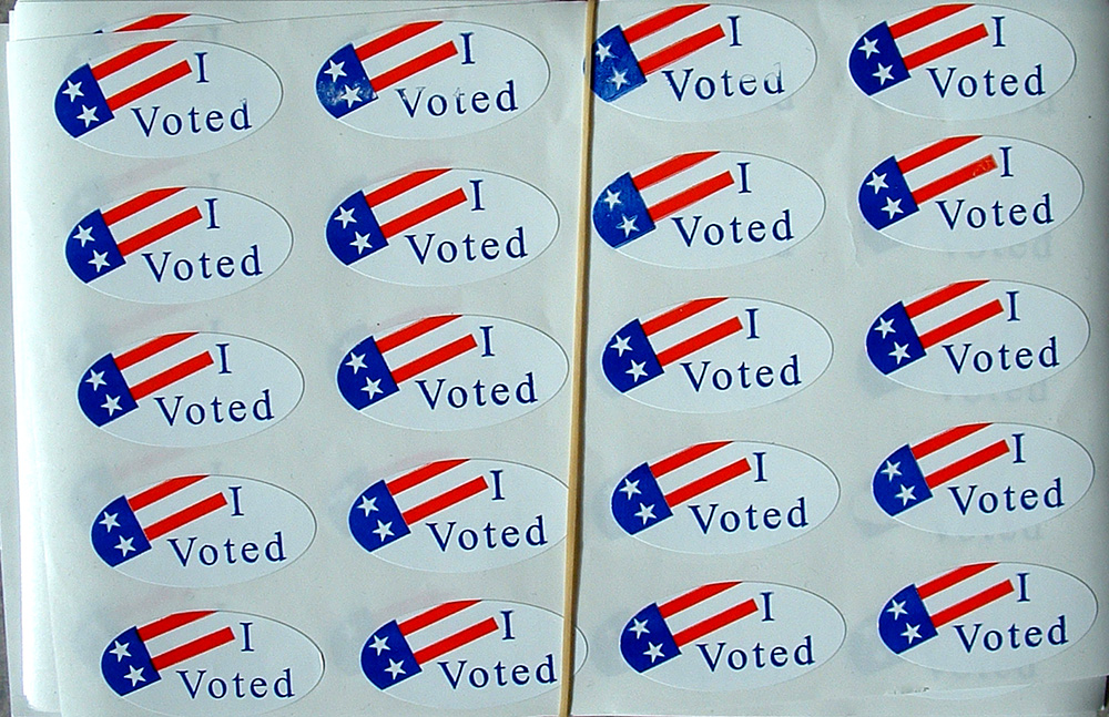 """I Voted"" stickers. (Joe Hall/Flickr)"