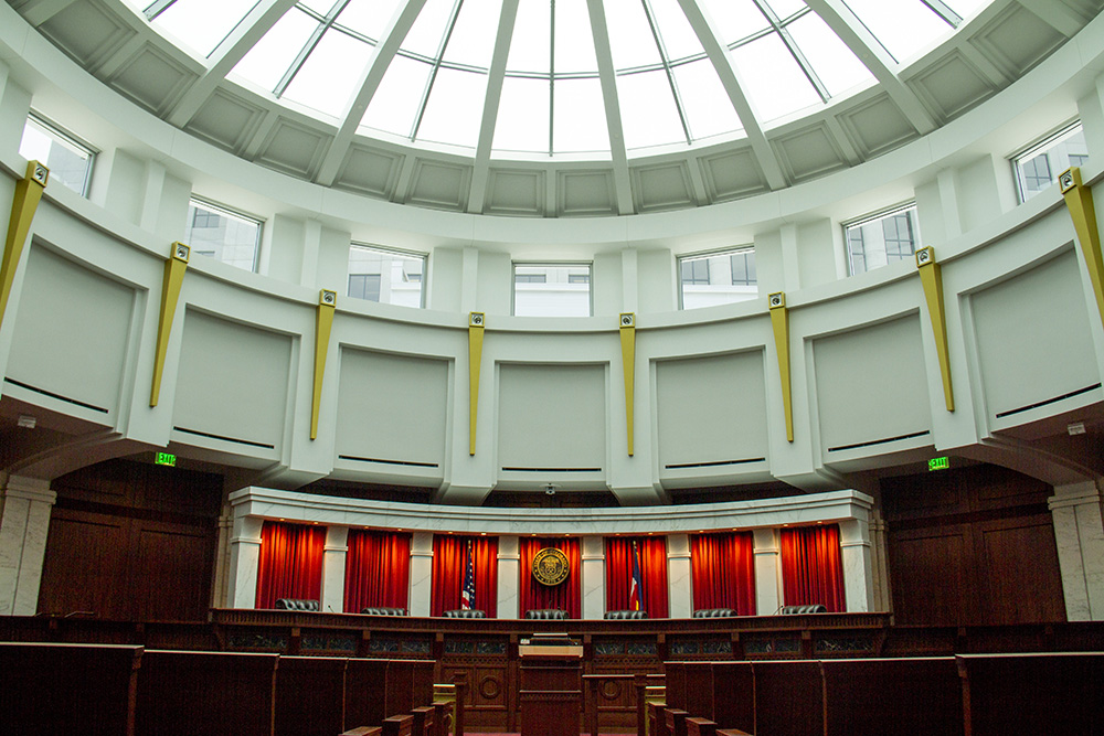 Inside the Colorado Supreme Court room at the Ralph L. Carr Judicial Center. (Kevin J. Beaty/Denverite)  colorado supreme court; justice; law; civic center; denver; kevinjbeaty;