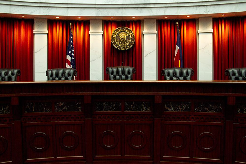Inside the Colorado Supreme Court room at the Ralph L. Carr Judicial Center. (Kevin J. Beaty/Denverite)  colorado supreme court; justice; law; civic center; denver; kevinjbeaty;