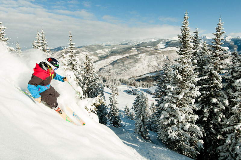 4 inches of snow last night and over 2 feet of snow in the last 7 days. It's a good day to be in Vail. (Connor Walberg/Snow Snow/Flickr)  winter vail; skiing; snow; mountain; winter;