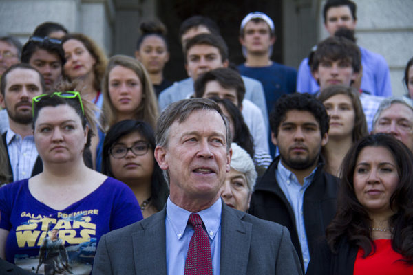 Colorado Governor John Hickenlooper speaks during a press conference on the state capitol steps, calling out Donald Trump as a racist candidate. June 8, 2016. (Kevin J. Beaty/Denverite)  John Hickenlooper; denver; denverite; governor john hickenlooper; capitol; capitol hill; speech; kevinjbeaty; colorado
