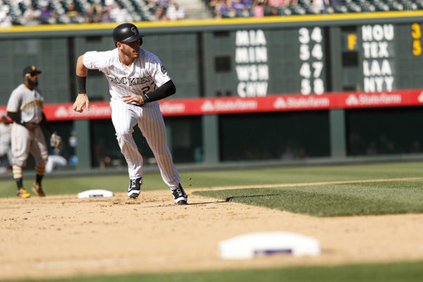 Trevor Story. Colorado Rockies vs. Pittsburgh Pirates Coors Field, June 9, 2016. (Jessica Taves/For Denverite)  colorado rockies; baseball; sports; jessica taves; denver; colorado; denverite