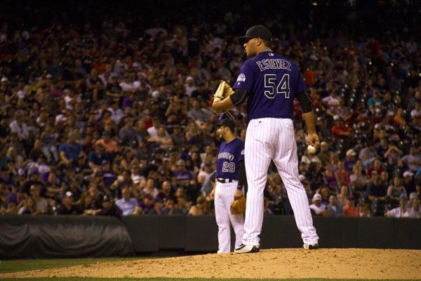 Carlos Estevez. Colorado Rockies vs San Diego Padres. June 10, 2016.  (Kevin J. Beaty/Denverite)  colorado rockies; baseball; sports; coors field; denver; colorado; denverite
