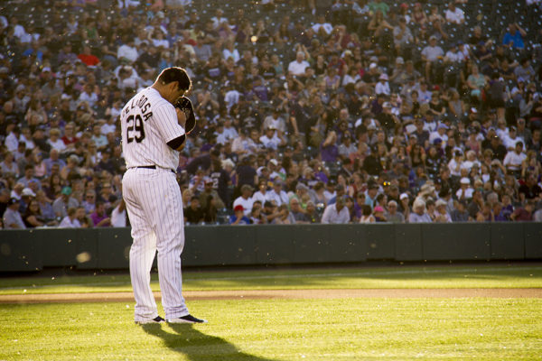 Jorge De La Rosa prepares to pitch for the Colorado Rockies vs. the New York Yankees on June 14, 2016. (Kevin J. Beaty/Denverite)