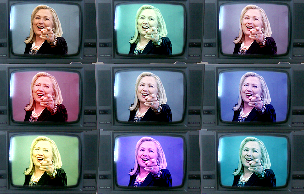 Hillary will take over Colorado TV. (Photo Illustration: Kevin J. Beaty/Denverite | Source Images: The White House/Flickr, Matýsek/Flickr)