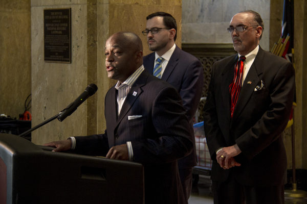 Denver Mayor Michael Hancock addresses the press at a conference concerning a new use of force policy for the Denver Sheriff's Department on June 16, 2016. (Kevin J. Beaty/Denverite)  mayor michael hancock; press conference; use of force; police; sheriff; city and county building; denver; denverite; kevinjbeaty; colorado