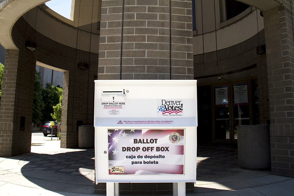 A ballot box on Bannock Street. June 16, 2016. (Kevin J. Beaty/Denverite)  voting; vote; ballot; poll; election; denver; colorado; denverite; kevinjbeaty;