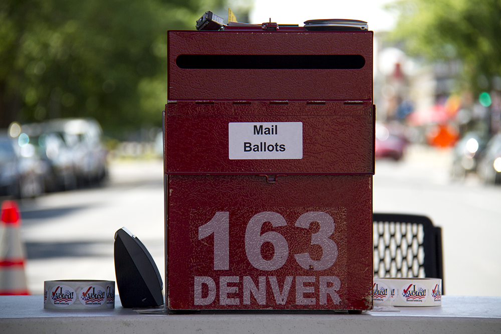 A ballot tent on Bannock Street. June 16, 2016. (Kevin J. Beaty/Denverite)  voting; vote; ballot; poll; election; denver; colorado; denverite; kevinjbeaty;
