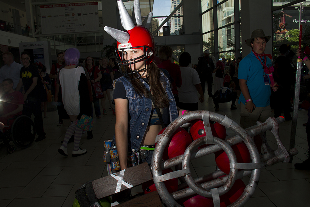 Drisana Litke dressed as a citizen of Sunset City from the game Sunset Overdrive. Denver Comic Con on June 19, 2016. (Kevin J. Beaty/Denverite)  denver comic con; convention center; denver; colorado; denverite; kevinjbeaty