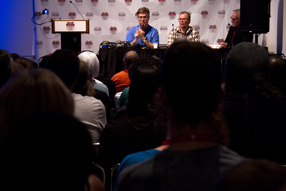 Co-creator of the cartoon Phineas and Ferb speaks about the show's animation process at Denver Comic Con. June 19, 2016. (Kevin J. Beaty/Denverite)  denver comic con; convention center; denver; colorado; denverite; kevinjbeaty