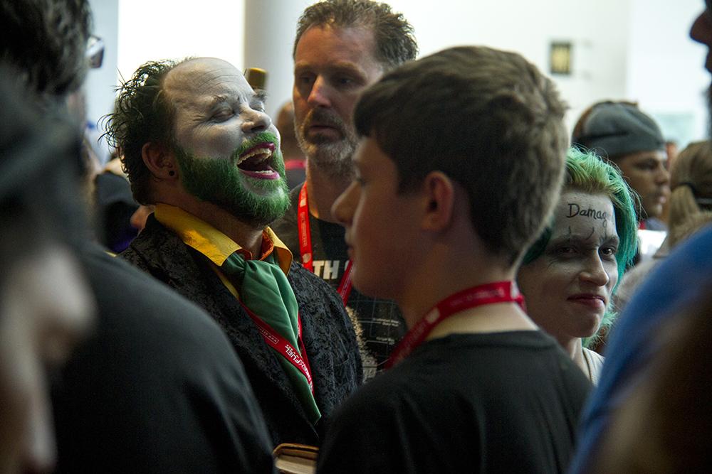 A cackling, bearded Joker mid-cackle. Denver Comic Con on June 19, 2016. (Kevin J. Beaty/Denverite)  denver comic con; convention center; denver; colorado; denverite; kevinjbeaty