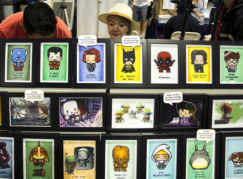 Trisha Ruth sits behind the Super Emo Friends booth. Denver Comic Con on June 19, 2016. (Kevin J. Beaty/Denverite)  denver comic con; convention center; denver; colorado; denverite; kevinjbeaty