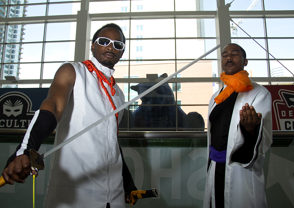 John Conerly and Marcus Harris dressed as Tousen from the anime, Bleach. Denver Comic Con on June 19, 2016. (Kevin J. Beaty/Denverite)  denver comic con; convention center; denver; colorado; denverite; kevinjbeaty