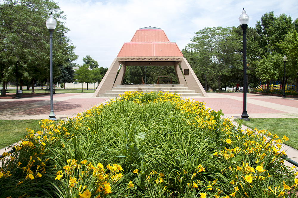 Plaza de la Raza at Columbus Park, otherwise known as La Raza Park. (Kevin J. Beaty/Denverite)  columbus park; la raza park; mural; public art; denver; denverite; kevinjbeaty; colorado;