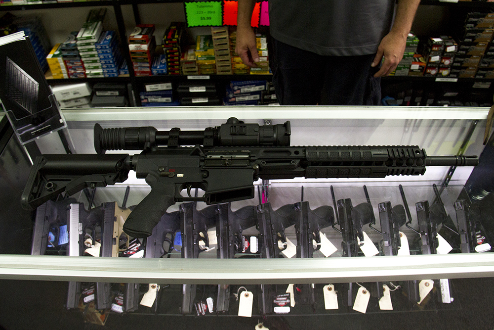 An AR-15 at Hammer Down Firearms in Wheat Ridge. (Kevin J. Beaty/Denverite)  guns; firearms; retail; kevinjbeaty; denver; denverite; colorado;
