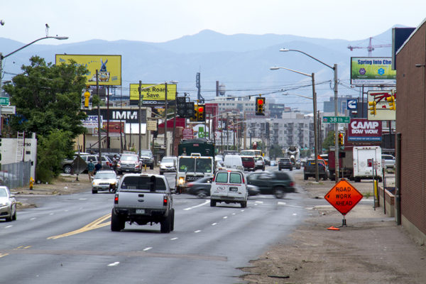 Brighton Boulevard, south of I-70. (Kevin J. Beaty/Denverite)  brighton boulevard; rino; kevinjbeaty; denver; denverite; colorado;