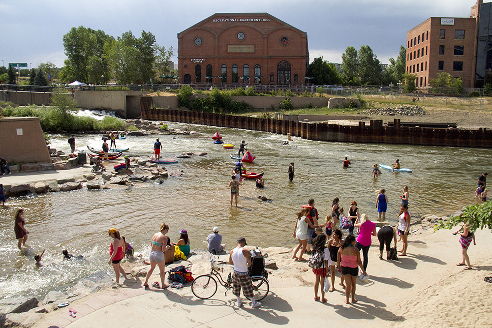 A full beach at Confluence Park during South Platte Riverfest, June 25, 2016. (Kevin J. Beaty/Denverite)