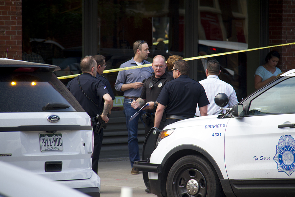 The crime scene at 15th and Wynkoop. June 28, 2016. (Kevin J. Beaty/Denverite)  crime scene; lodo; union station; shooting; kevinjbeaty; denver; denverite; colorado;
