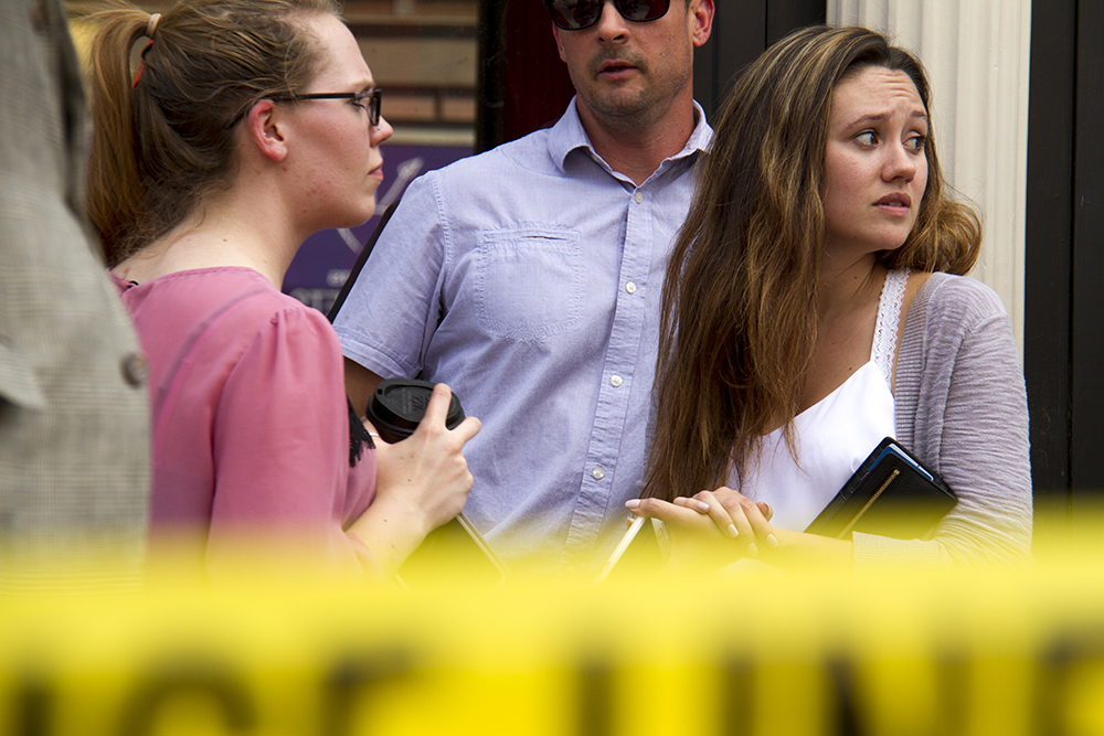 Jordyn Peters near the crime scene at 15th and Wynkoop. June 28, 2016. (Kevin J. Beaty/Denverite)  crime scene; lodo; union station; shooting; kevinjbeaty; denver; denverite; colorado;