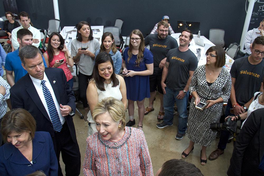 Hillary Clinton visits Galvanize. June 28, 2016. (Kevin J. Beaty/Denverite)  hillary clinton; denver; politics; election; denverite; kevinjbeaty; colorado;